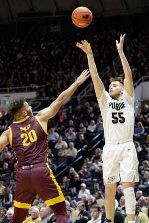 Purdue guard Sasha Stefanovic (55) goes up for three against Central Michigan guard Kevin McKay (20) during the second half of a NCAA men's basketball game, Saturday, Dec. 28, 2019 at Mackey Arena in West Lafayette.