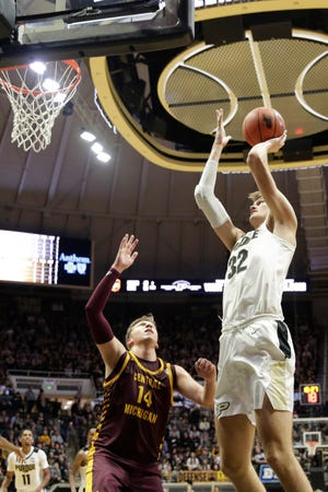 Purdue center Matt Haarms (32) goes up for two during the second half of a NCAA men's basketball game, Saturday, Dec. 28, 2019 at Mackey Arena in West Lafayette.