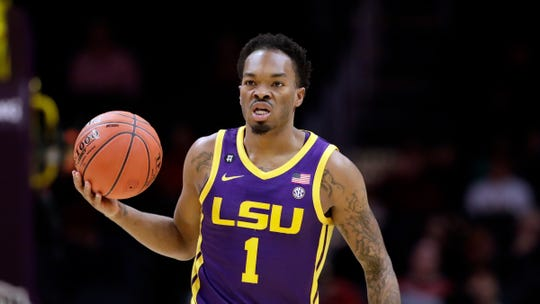 LSU's Javonte Smart (1) during an NCAA college basketball game against Southern California Saturday, Dec. 21, 2019, in Los Angeles. (AP Photo/Marcio Jose Sanchez)