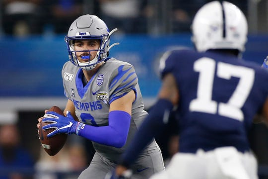 Memphis Tigers quarterback Brady White (3) in the pocket in the third quarter against the Penn State Nittany Lions at AT&T Stadium.