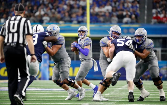 Memphis quarterback Brady White draws back to pass against Penn State on Saturday, Dec. 28, 2019, during the Goodyear Cotton Bowl Classic at AT&T Stadium in Arlington, Texas.