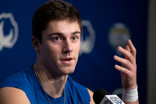 Memphis place kicker Riley Patterson answers questions from the media Saturday, Dec. 28, 2019, after the Goodyear Cotton Bowl Classic at AT&T Stadium in Arlington, Texas.