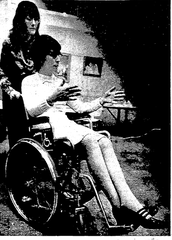 Ellen Daly demonstrates in a 1975 Milwaukee Journal photo how to help someone in a wheelchair. She took part in a training session for Milwaukee librarians on how to interact with people with disabilities.