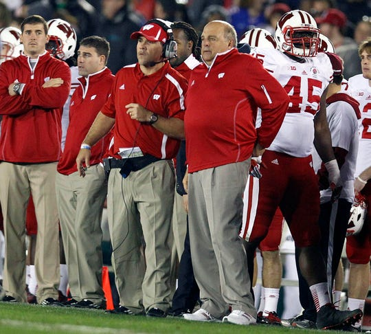 Wisconsin coach Barry Alvarez and other coaches look on during the loss to Stanford in the Rose Bowl on Jan. 1, 2013.