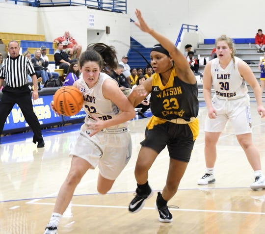 Mountain Home's Kate Gilbert drives to the basket against Watson Chapel's Taylor Whitted on Friday night.