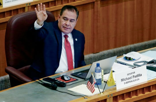 New Mexico State Sen. Michael Padilla, shown here during the 2019 legislative session, was in the state foster care system until he was 14. He still keeps in touch with his former caseworker.