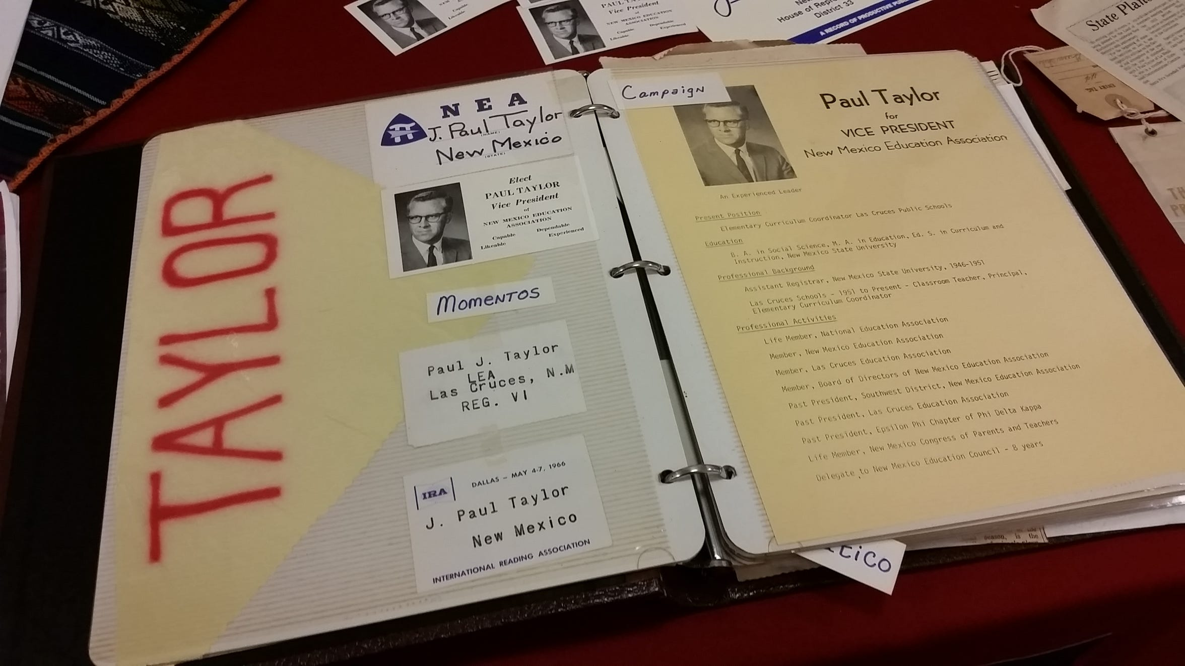 Documents from the J. Paul Taylor archives are displayed at Taylor's birthday party at the New Mexico Farm & Ranch Heritage Museum in August 2019.