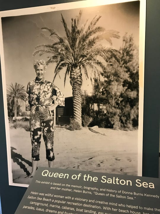 """Half of the exhibit focuses on Helen Burns, who was known as """"Queens of the Salton Sea."""""""
