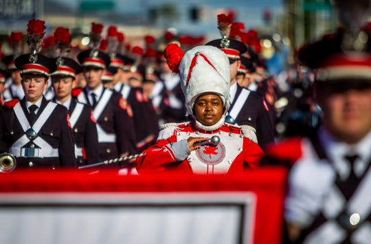 Ohio State University marching band drum major Morgan Davis marches at the Fiesta Bowl Parade in Phoenix on Saturday, Dec. 28, 2019.