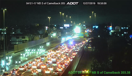 Closure on I-17 at Camelback Road resulting from fatal pedestrian collision