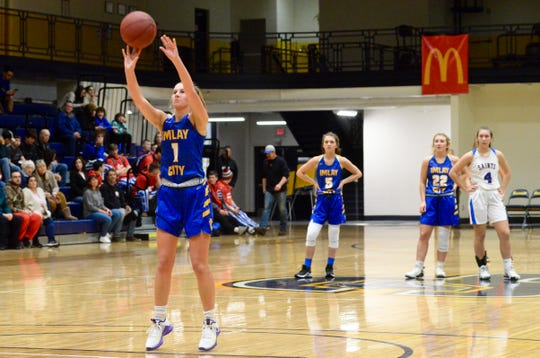 Imlay City's Ana Lengemann shoots a technical free throw against St. Clair during a SC4 Showcase girls basketball game on Friday, Dec. 27, 2019, at SC4 Fieldhouse in Port Huron.