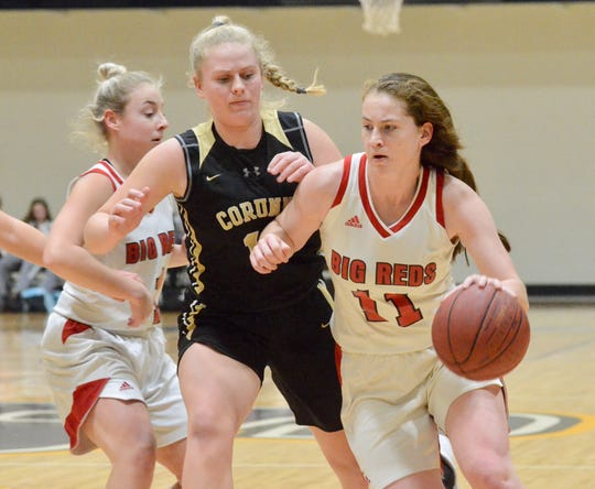 Port Huron's Emma Trombly dribbles against Corunna during a SC4 Showcase girls basketball game on Friday, Dec. 27, 2019, at SC4 Fieldhouse in Port Huron.