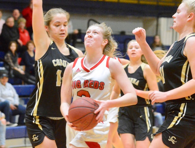 Port Huron's Madison Landschoot attacks the hoop against Corunna during a SC4 Showcase girls basketball game on Friday, Dec. 27, 2019, at SC4 Fieldhouse in Port Huron.