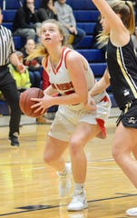 Port Huron's Julia Gilbert drives to the basket against Corunna during a SC4 Showcase girls basketball game on Friday, Dec. 27, 2019, at SC4 Fieldhouse in Port Huron.