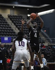 Sussex Tech's Ja'Shaun Johnson with the shot against Crisfield during the 39th Annual Governors Challenge held at the Wicomico Youth and Civic Center on Friday, Dec. 27, 2019.