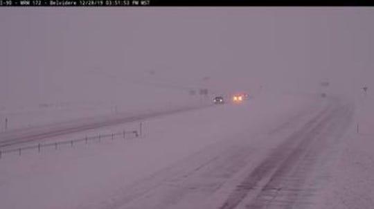 Conditions on Interstate 90 near Belvidere on Saturday night.