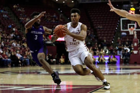Florida State Seminoles guard Anthony Polite (2) drives the ball to the hoop. The Seminoles beat the North Alabama Lions 88-71 on Saturday, Dec. 28, 2019.