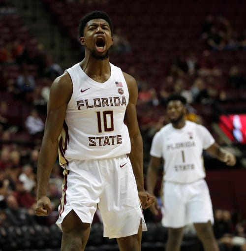 Florida State Seminoles forward Malik Osborne (10) celebrates his dunk. The Seminoles beat the North Alabama Lions 88-71 on Saturday, Dec. 28, 2019.