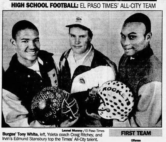 Tony White, left, made El Paso Times' All-City Team in 1996