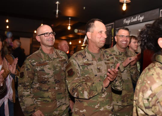 Air Force Maj. Gen. John Shaw, center, is now commander of the Space Operations Command at Vandenberg Air Force Base, the base announced in December.