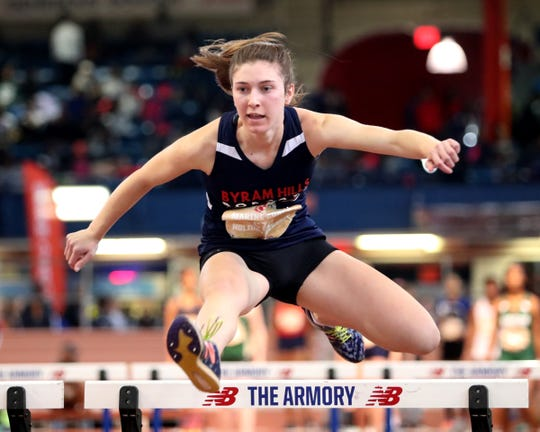 Byram Hills' Ella Manners runs the preliminaries of the 55-meter hurdles at the Marine Corps Holiday Classic at The Armory New Balance Track & Field Center in New York on Saturday, December 28, 2019.