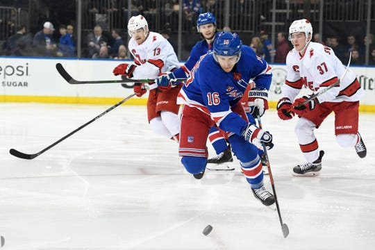Dec 27, 2019; New York, New York, USA; New York Rangers center Ryan Strome (16) skates with the puck during the first period against the Carolina Hurricanes at Madison Square Garden. Mandatory Credit: Sarah Stier-USA TODAY Sports