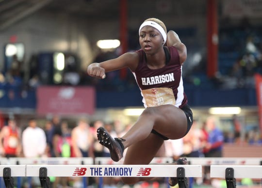 Harrison's Ashia Kapio competes in the preliminaries of the 55-meter hurdles in the Marine Corps Holiday Classic at The Armory New Balance Track & Field Center in New York on Saturday, December 28, 2019.