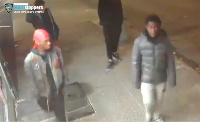 This still image taken from surveillance video provided by NYPD shows suspects in connection to a mugging of a 60-year-old man on Tuesday, Dec. 24, 2019 in the the Morrisania neighborhood of the Bronx in New York. Juan Fresnada died Friday, Dec. 27,  at the Bronx hospital where he was taken in critical condition after the mugging early Tuesday, the New York Police Department said.