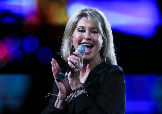 Olivia Newton-John on Feb. 23, 2017, at the Vina del Mar International Song Festival in Vina del Mar, Chile.