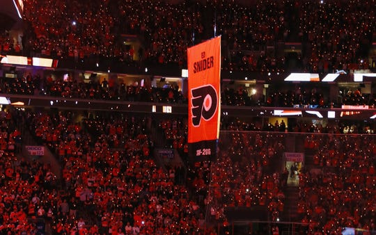 The Flyers raised a banner for Ed Snider in 2016, after the team's founder and chairman died.