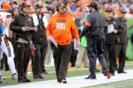 Cleveland Browns head coach Freddie Kitchens paces the sideline in the fourth quarter during an NFL Week 17 game against the Cincinnati Bengals, Sunday, Dec. 29, 2019, at Paul Brown Stadium in Cincinnati. Cincinnati Bengals won 33-23.