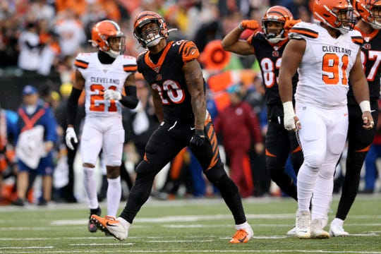 Cincinnati Bengals running back Joe Mixon (28) reacts after breaking a long run in the fourth quarter during an NFL Week 17 game against the Cleveland Browns, Sunday, Dec. 29, 2019, at Paul Brown Stadium in Cincinnati. Cincinnati Bengals won 33-23.