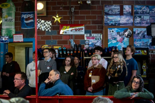 The crowd listens to South Bend, Indiana Mayor Pete Buttigieg speak at a campaign event on Sunday, Dec. 29, 2019, at the Skate Pit in Knoxville, Iowa.