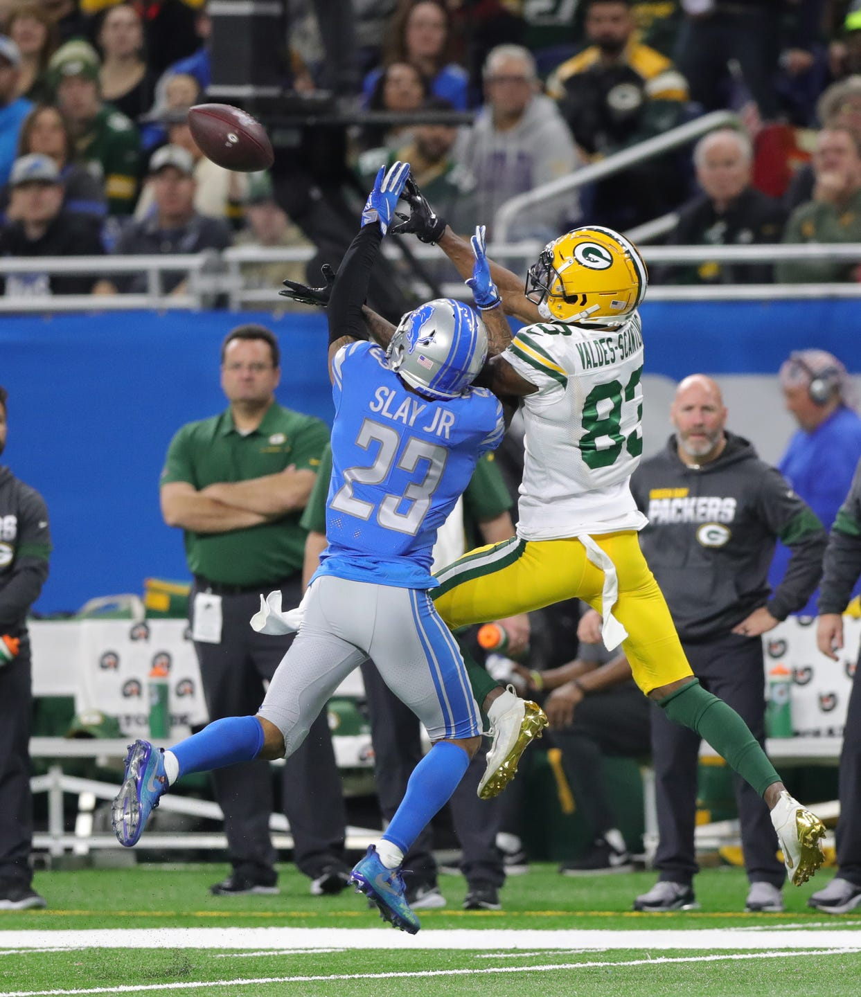 Detroit Lions cornerback Darius Slay defends Green Bay Packers receiver Marquez Valdes-Scantling during the second half Sunday, Dec. 29, 2019 at Ford Field.