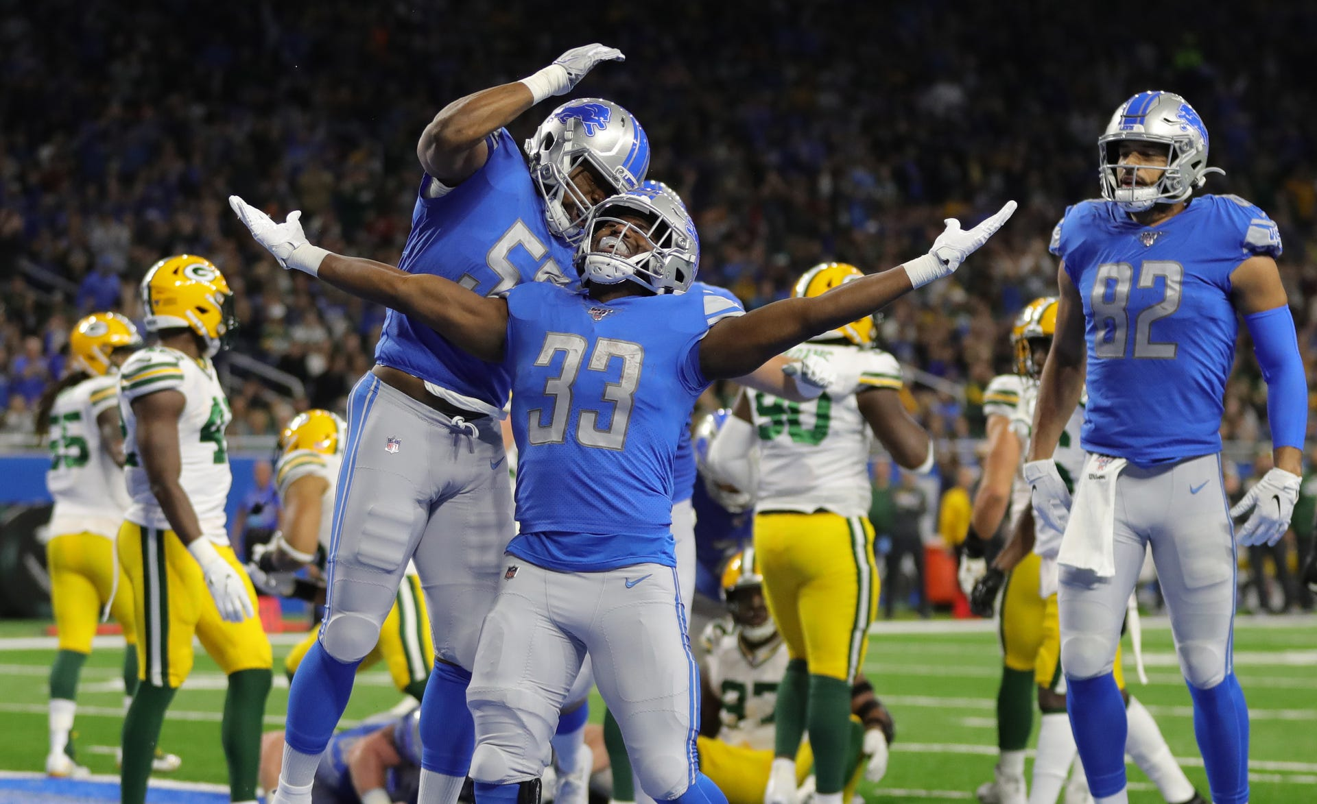 Detroit Lions running back Kerryon Johnson celebrates his touchdown against the Green Bay Packers during the first half Sunday, Dec. 29, 2019 at Ford Field.