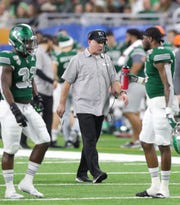 Eastern Michigan Eagles head coach Chris Creighton during action against the Pittsburgh Panthers in the Quick Lane Bowl, Thursday, Dec. 26, 2019 at Ford Field in Detroit.