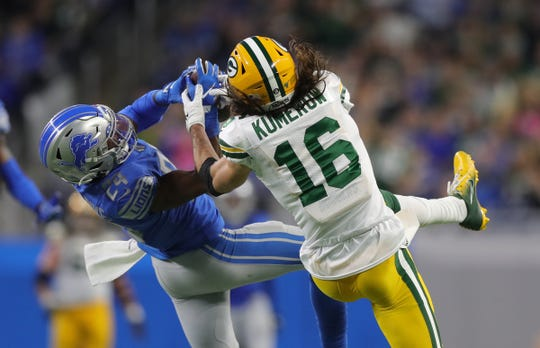 Detroit Lions cornerback Amani Oruwariye intercepts a deep pass to Green Bay Packers receiver Jake Kumerow in the fourth quarter Sunday, Dec. 29, 2019 at Ford Field.