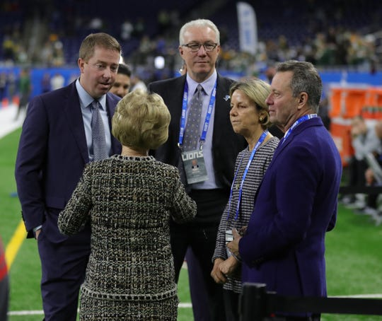 Detroit Lions owner Martha Firestone Ford with Bob Quinn, Rod Wood, Sheila Ford Hamp and Steven Hamp before action against the Green Bay Packers, Sunday,  Dec. 29, 2019 at Ford Field.