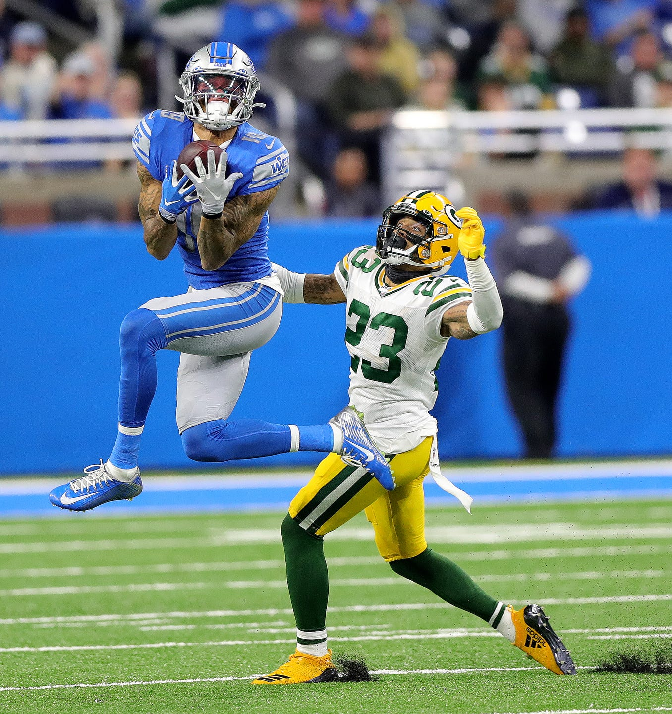 Detroit Lions receiver Kenny Golladay makes a catch against Green Bay Packers cornerback Jaire Alexander during the first half Sunday, Dec. 29, 2019 at Ford Field.
