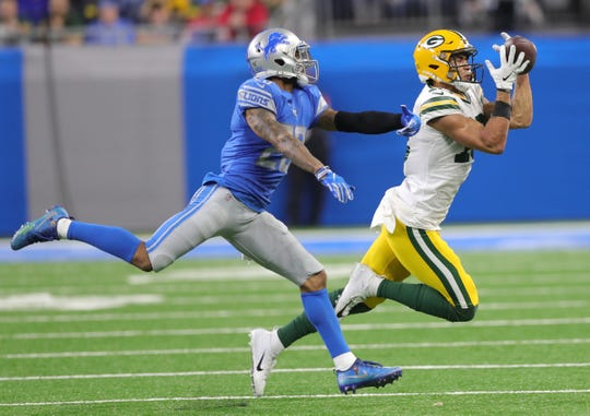 Detroit Lions cornerback Darius Slay defends Green Bay Packers receiver Allen Lazard during the second half Sunday, Dec. 29, 2019 at Ford Field.