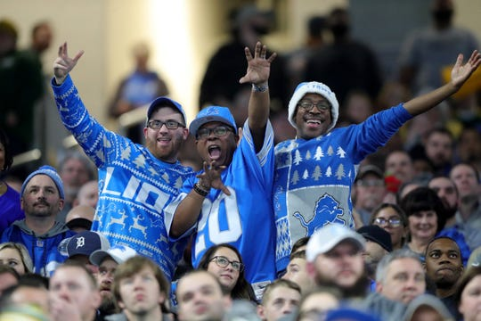 Detroit Lions fans during action against the Green Bay Packers, Sunday, Dec. 29, 2019 at Ford Field.