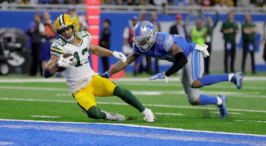 Detroit Lions cornerback Darius Slay gives up a touchdown to Green Bay Packers receiver Allen Lazard during the second half Sunday, Dec. 29, 2019 at Ford Field.