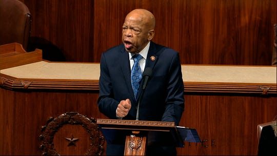 Rep. John Lewis, D-Ga., speaks as the House of Representatives debates the articles of impeachment against President Donald Trump at the Capitol in Washington, Wednesday, Dec. 18, 2019.