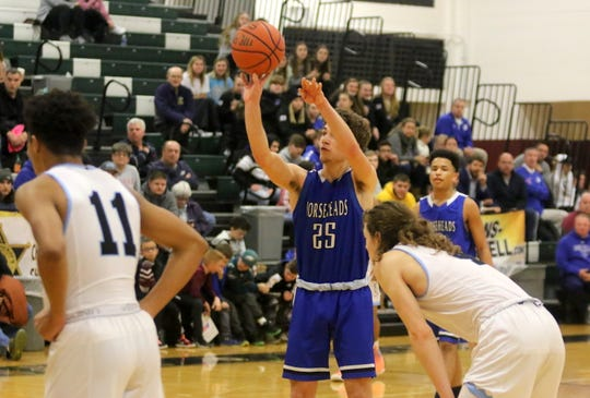 Grayson Woodhouse of Horseheads takes a free throw in a 74-68 triple-overtime win over Bishop Kearney in a consolation game at the Josh Palmer Fund Elmira Holiday Inn Classic on Dec. 29, 2019 at Elmira High School.