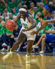 Nasrin Ulel, a guard for the FGCU Eagles, drives to the basket during the second half of the game against the Duke University. FGCU cruised to a victory after a 78-56 win Sunday afternoon, December 29,2019 at Alico Arena.