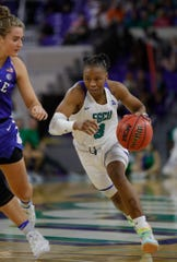 Keri Jewett-Giles drives during FGCU's 78-56 victory over Duke on Sunday, Dec. 29, 2019, at Alico Arena.
