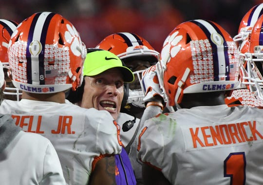 Clemson Defensive Coordinator Brent Venables talks to players during the fourth quarter of the PlayStation Fiesta Bowl of the College Football Playoffs semi-final game, at State Farm Stadium in Glendale, Arizona Saturday, December 28, 2019.