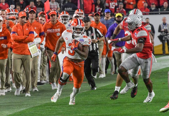 Clemson wide receiver Amari Rodgers (3) catches a pass setting up the Etienne go-ahead score during the fourth quarter of the PlayStation Fiesta Bowl of the College Football Playoffs semi-final game, at State Farm Stadium in Glendale, Arizona Saturday, December 28, 2019.