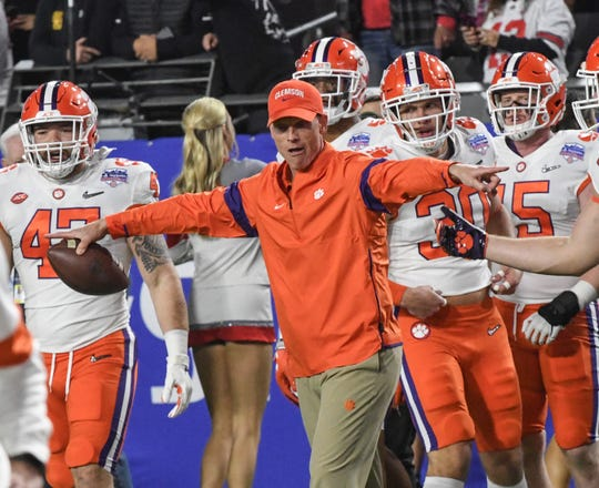 Clemson Defensive Coordinator Brent Venables watches his players practice before the of the of the PlayStation Fiesta Bowl of the College Football Playoffs semi-final game, at State Farm Stadium in Glendale, Arizona Saturday, December 28, 2019.