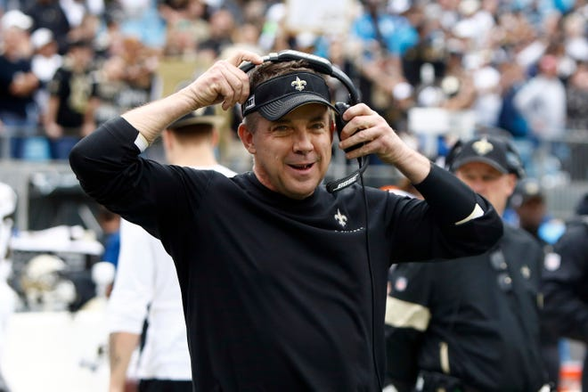 New Orleans Saints head coach Sean Payton is seen on the sidelines during the first half of an NFL football game in Charlotte, N.C., Sunday, Dec. 29, 2019. (AP Photo/Brian Blanco)